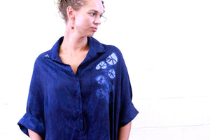 Indigo Blue Organic Lightweight Linen Smock Top with Pockets | For Women | Blue Sand Dollar - Modern Shibori