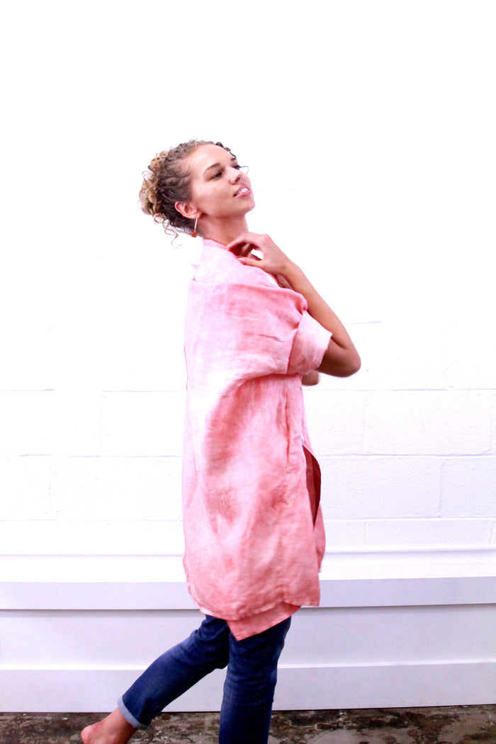 Linen Smock - Coral Eclipse