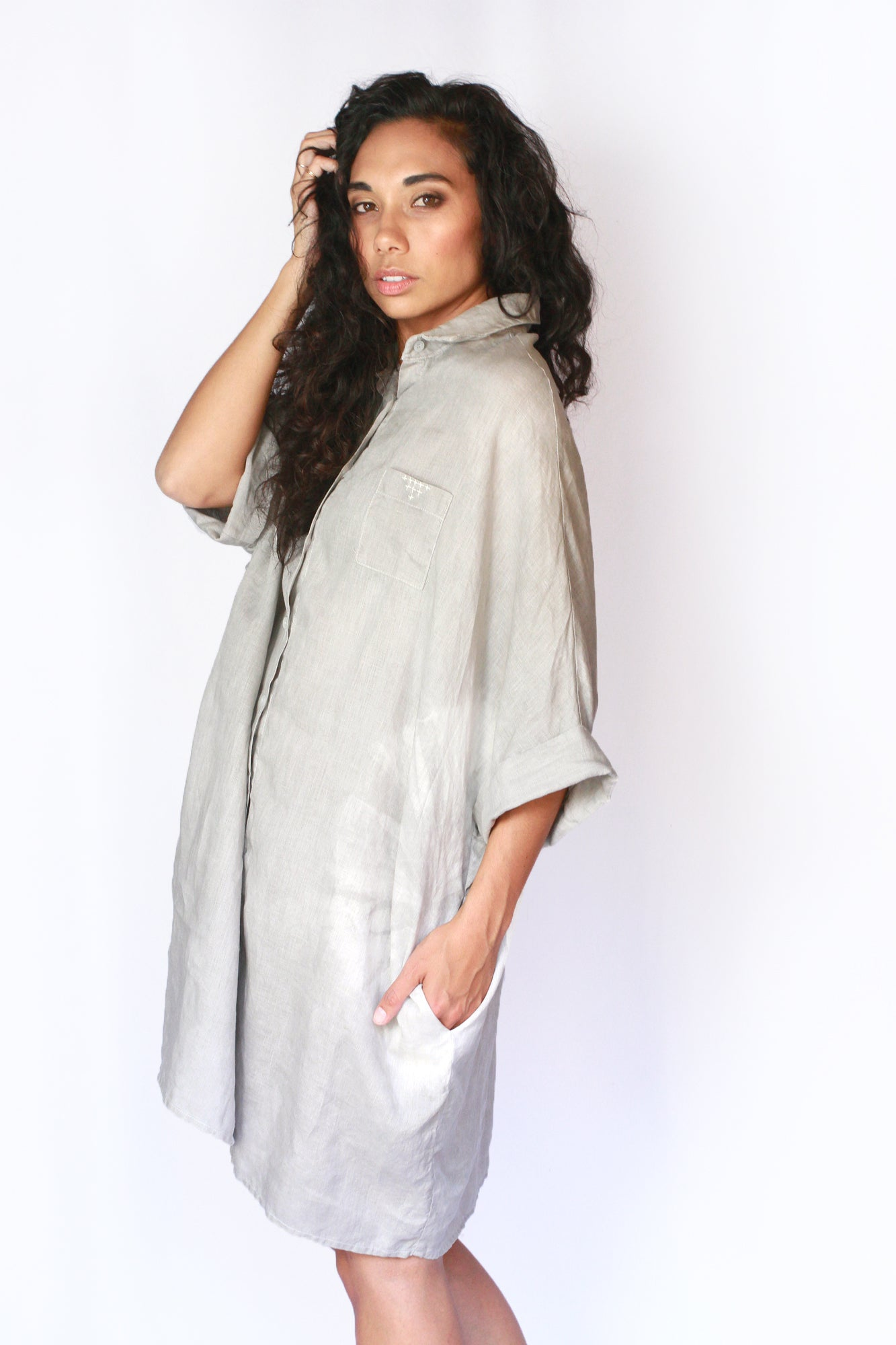 Grey | Organic Lightweight Cotton Smock Top with Pockets | For Women - Modern Shibori