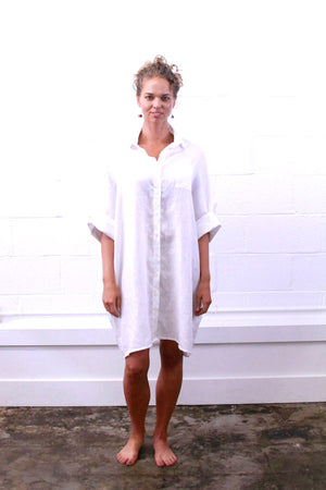 White | Organic Lightweight Cotton or Linen Smock Top with Pockets | For Women - Modern Shibori