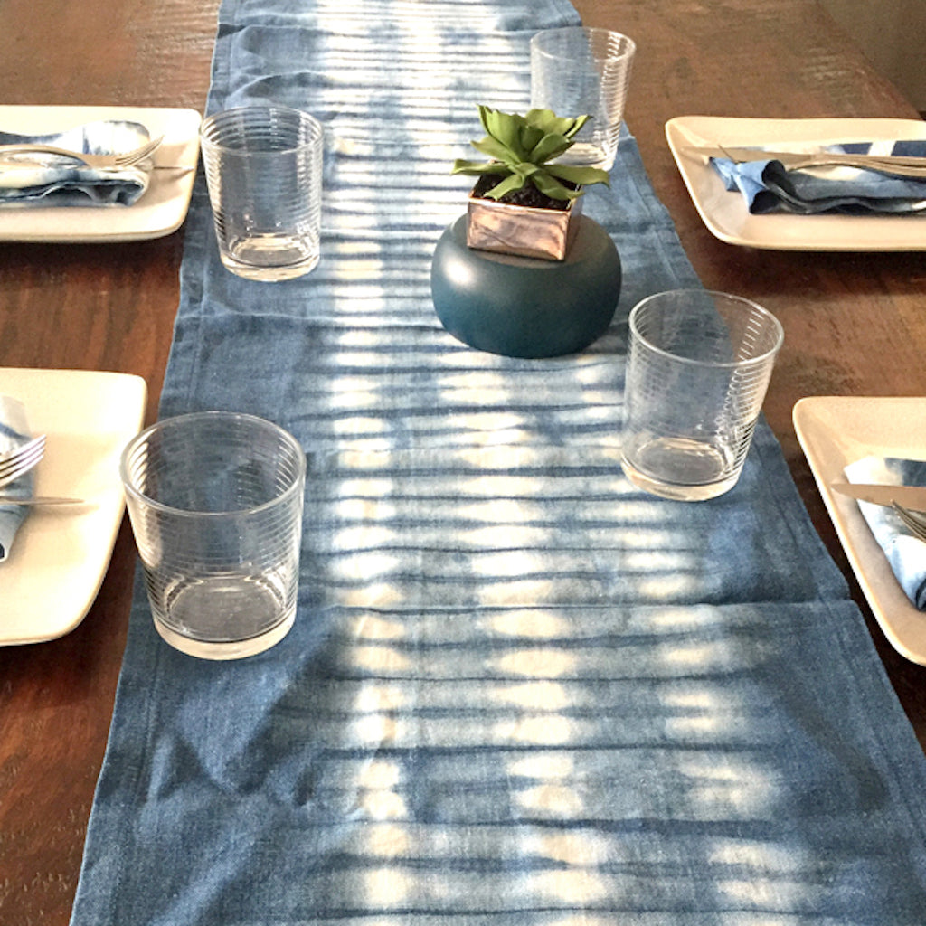 Indigo Blue Linen Table Runner - Two Sizes