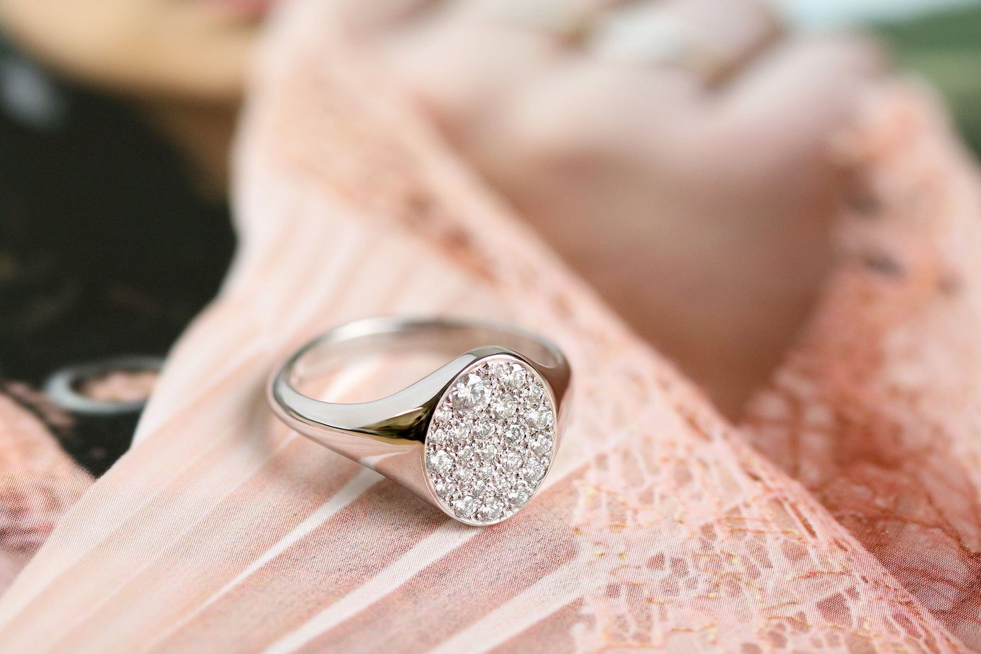 pave diamond signet ring in white gold