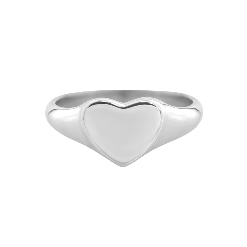 Small Heart Signet Ring White Gold