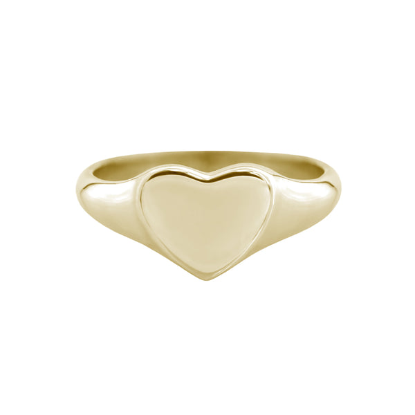 Small Heart Signet Ring Yellow Gold