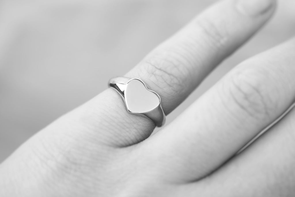 Baby Heart Signet Ring White Gold