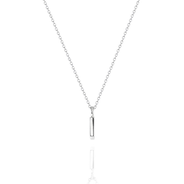 Fine Vertical Bar Necklace White Gold