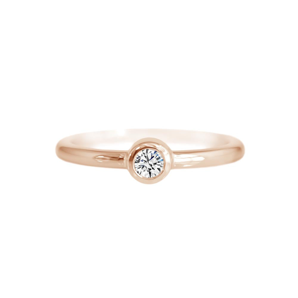 Diamond Bezel Ring Rose Gold