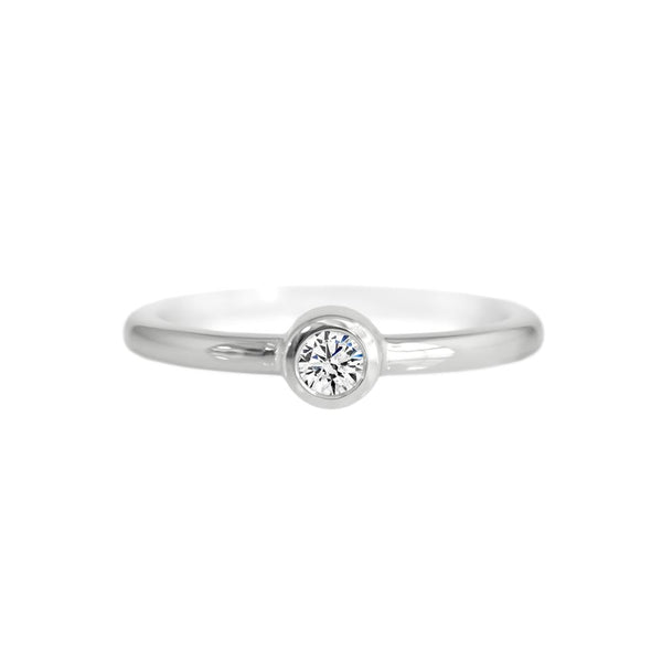 Diamond Bezel Ring White Gold