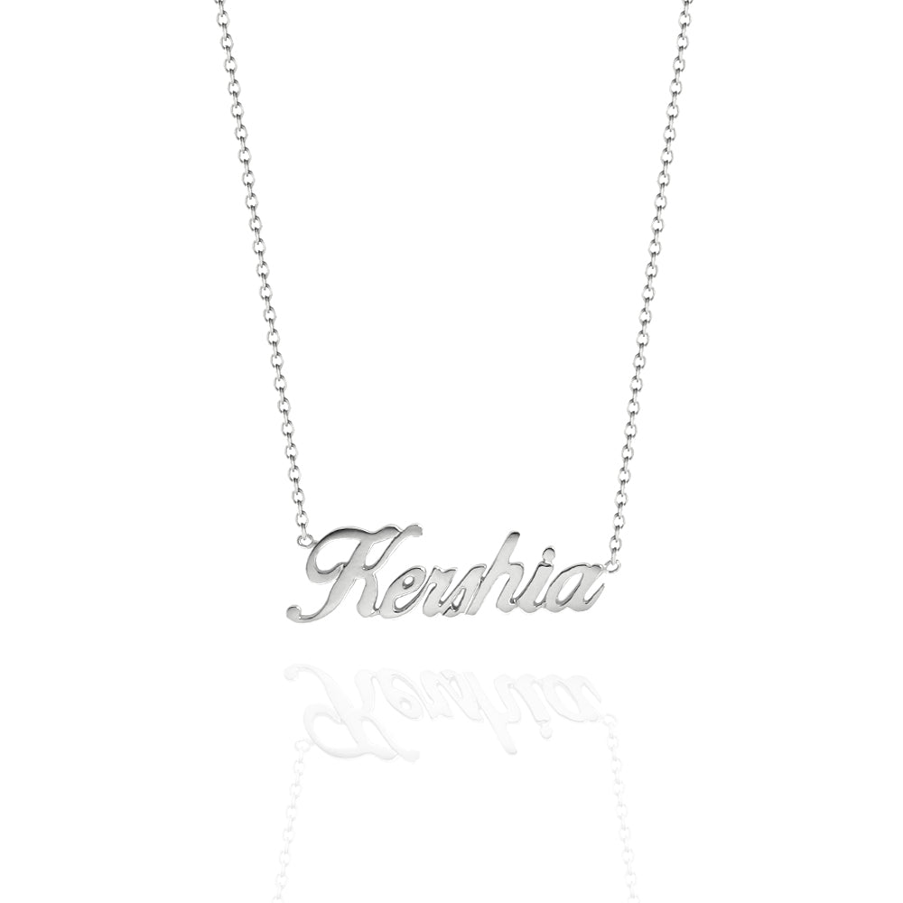 Custom Name Necklace Cursive White Gold
