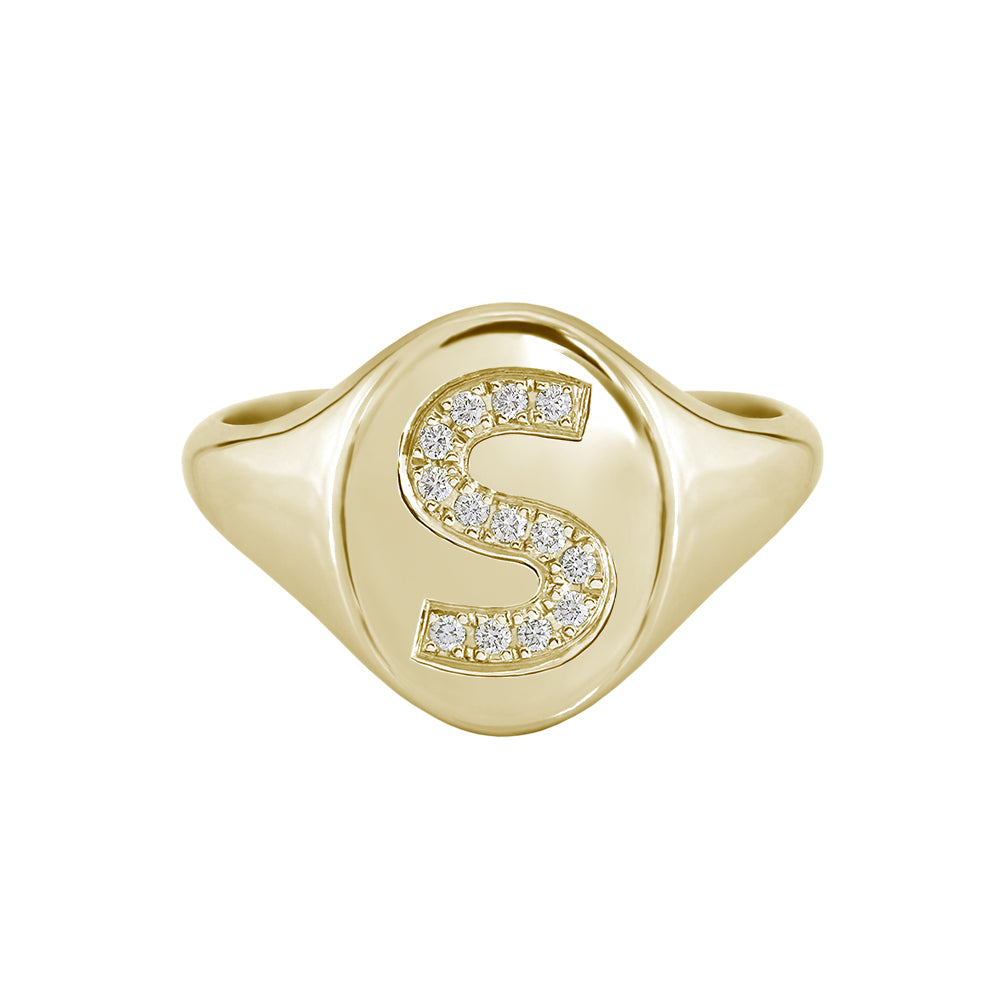 yellow gold diamond initial signet ring