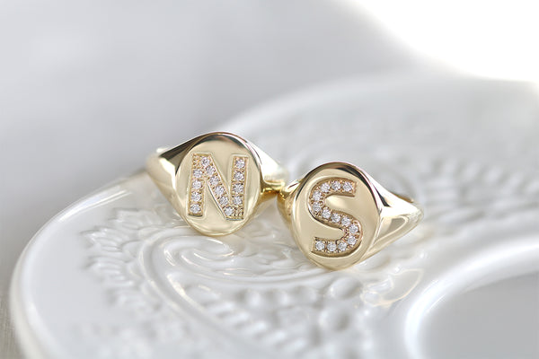 diamond initial signet rings