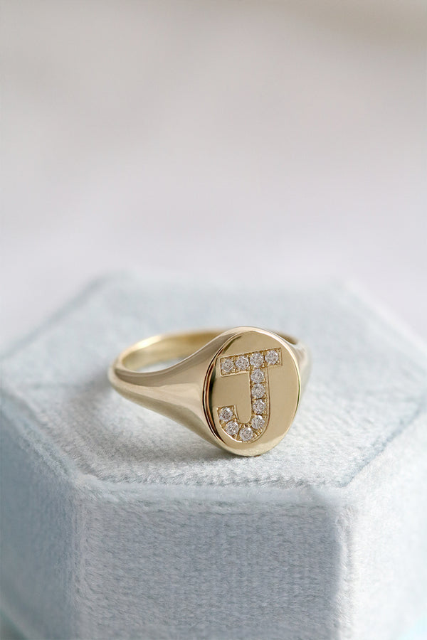 Diamond Initial Signet Ring Yellow Gold