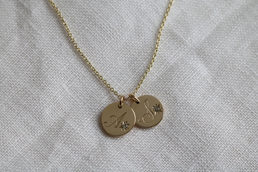 Engraved Duo Initial Necklace with Star Set Diamonds Yellow Gold