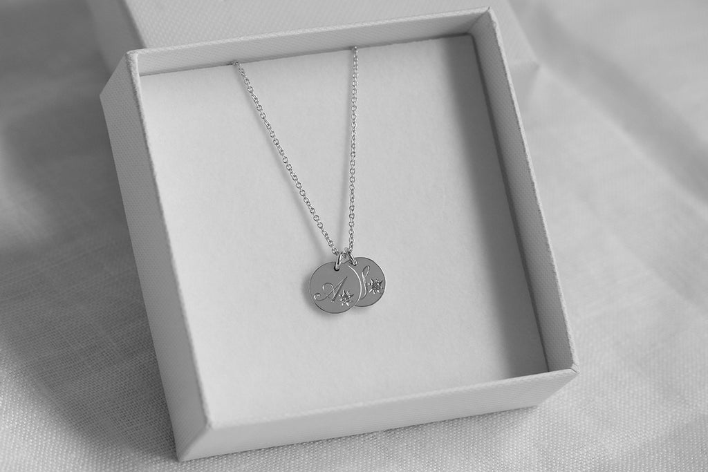 Engraved Duo Initial Necklace with Star Set Diamonds Rose Gold