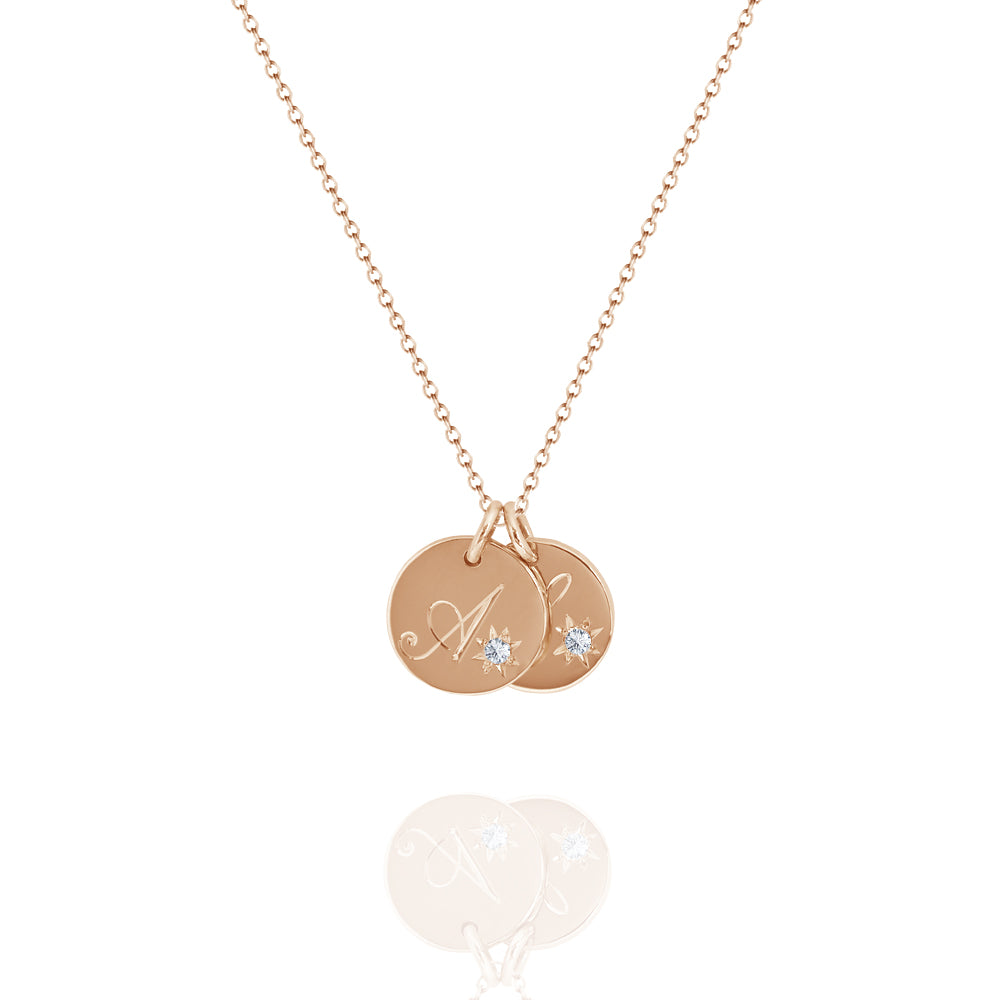 rose gold double initial necklace