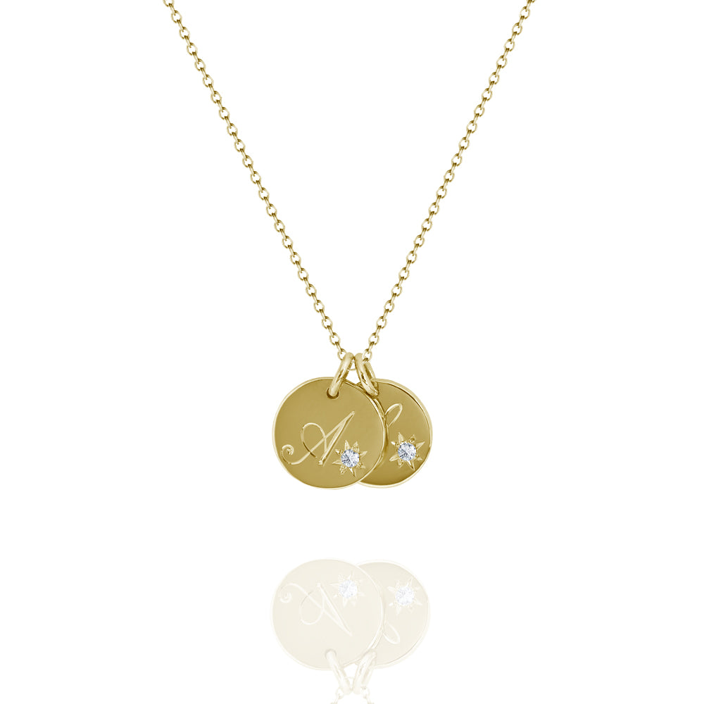 double initial tag necklace yellow gold
