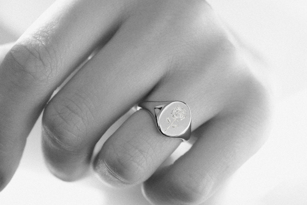 Engraved Rose Signet Ring Rose Gold