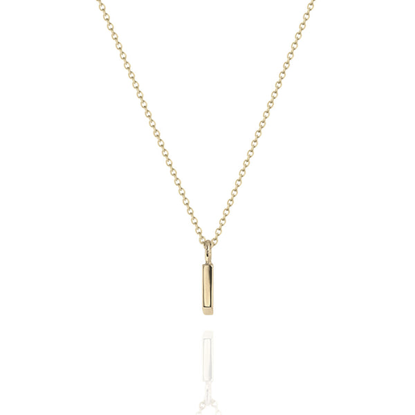 Fine Vertical Bar Necklace Yellow Gold
