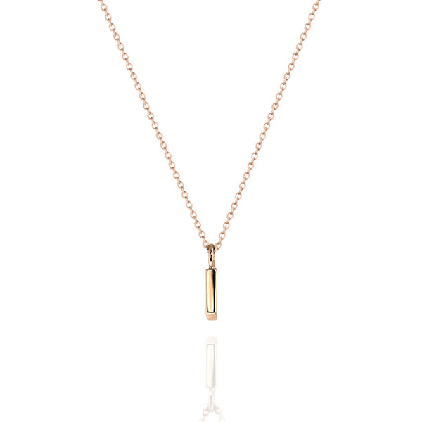 Fine Vertical Bar Necklace Rose Gold