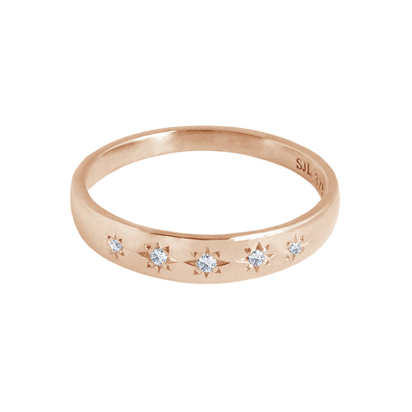 Star Set Diamond Band Rose Gold