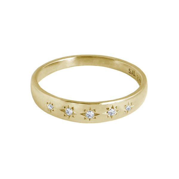 Star Set Diamond Band Yellow Gold