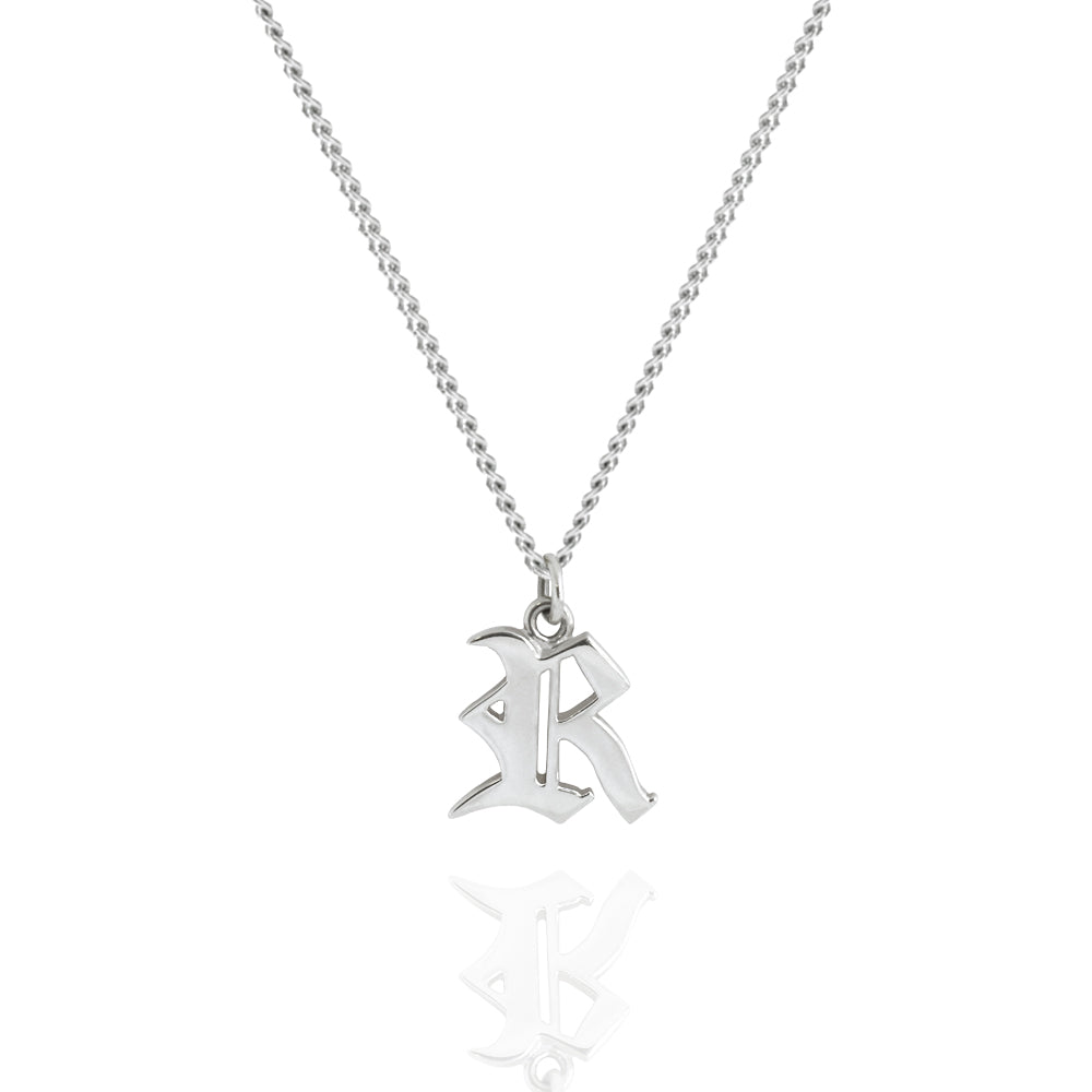 R letter Necklace White Gold