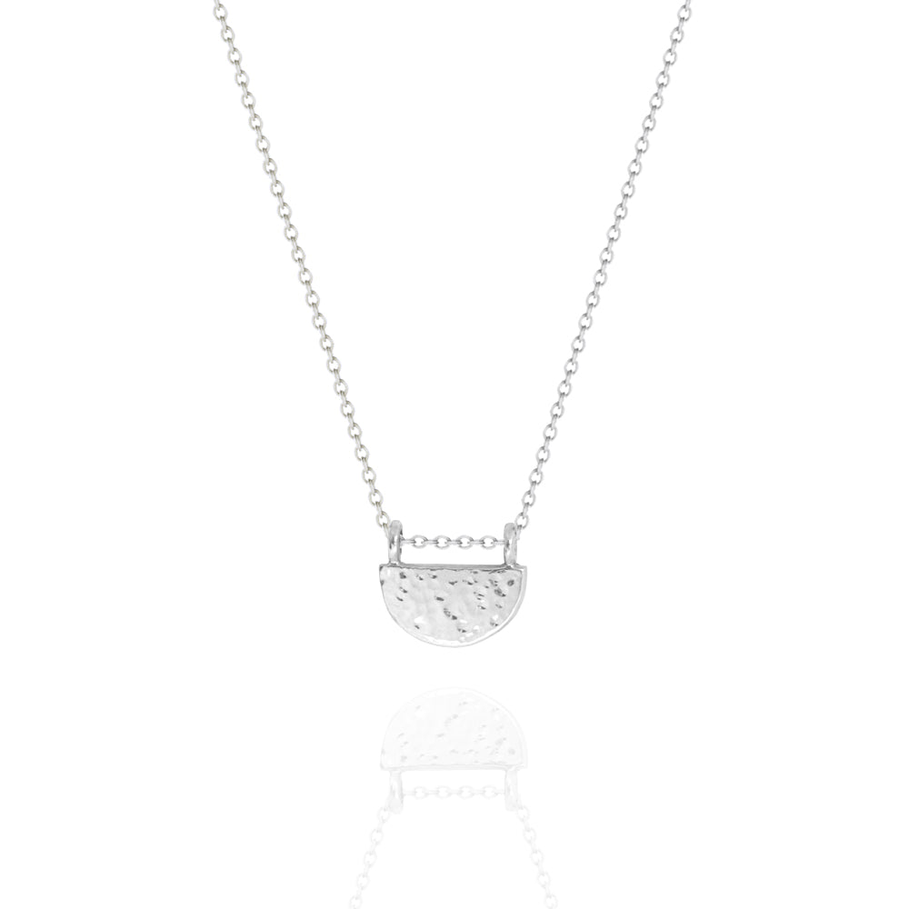 Textured Half Circle Necklace White Gold
