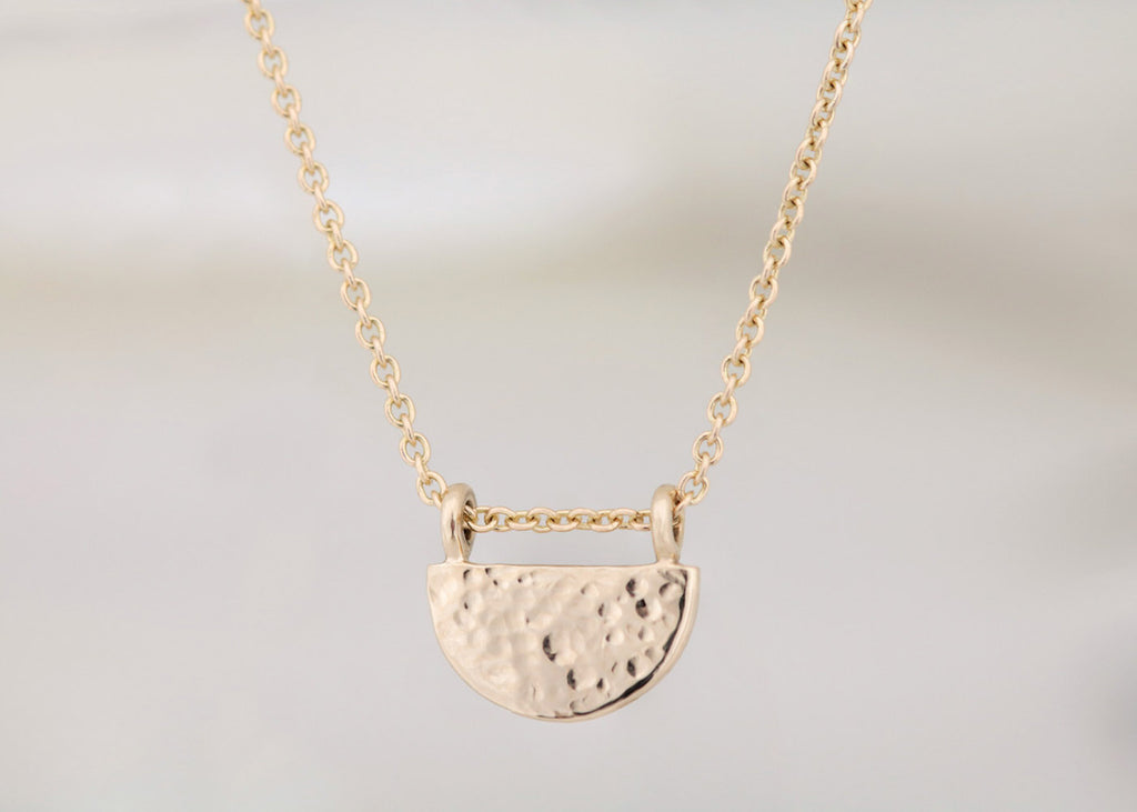 Textured Half Circle Necklace Yellow Gold