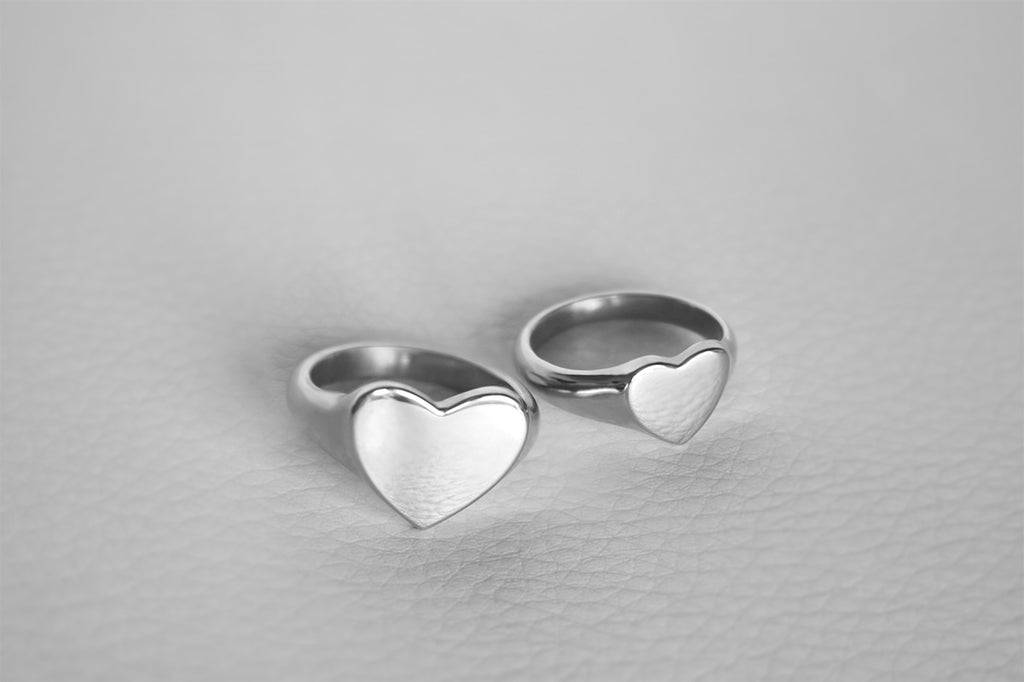 white gold heart shaped rings