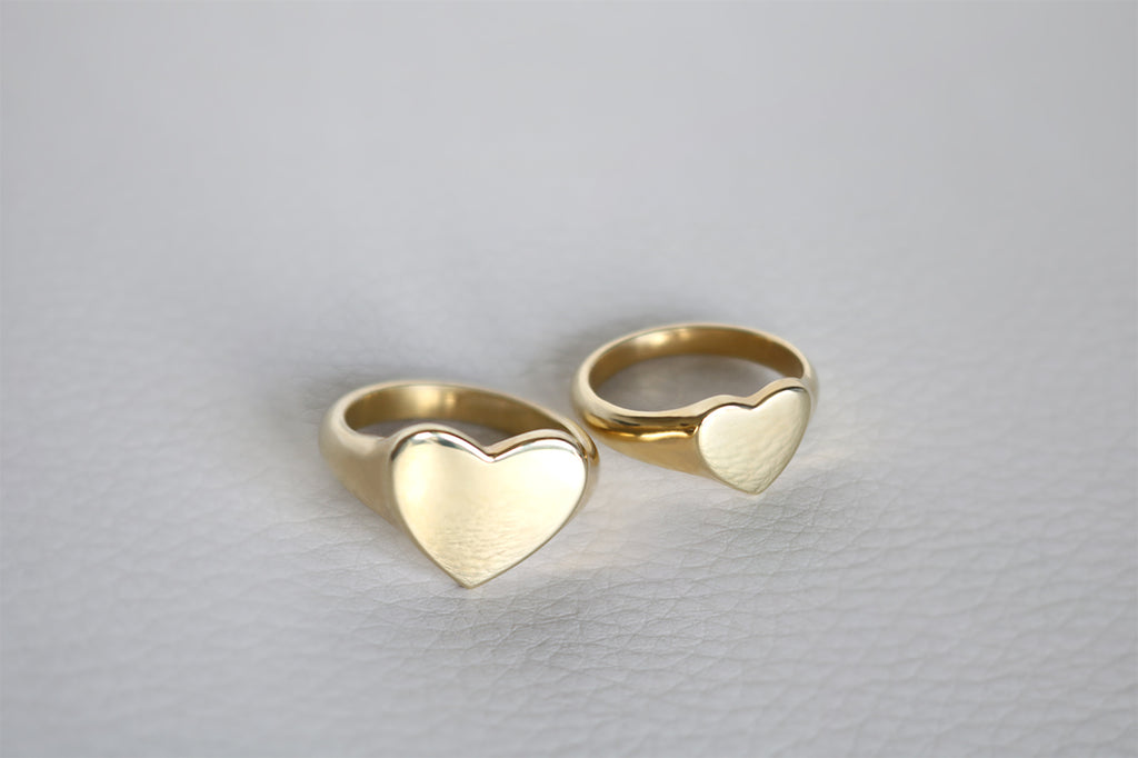 yellow gold heart shaped signet rings