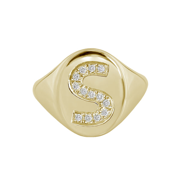 Large diamond initial signet ring