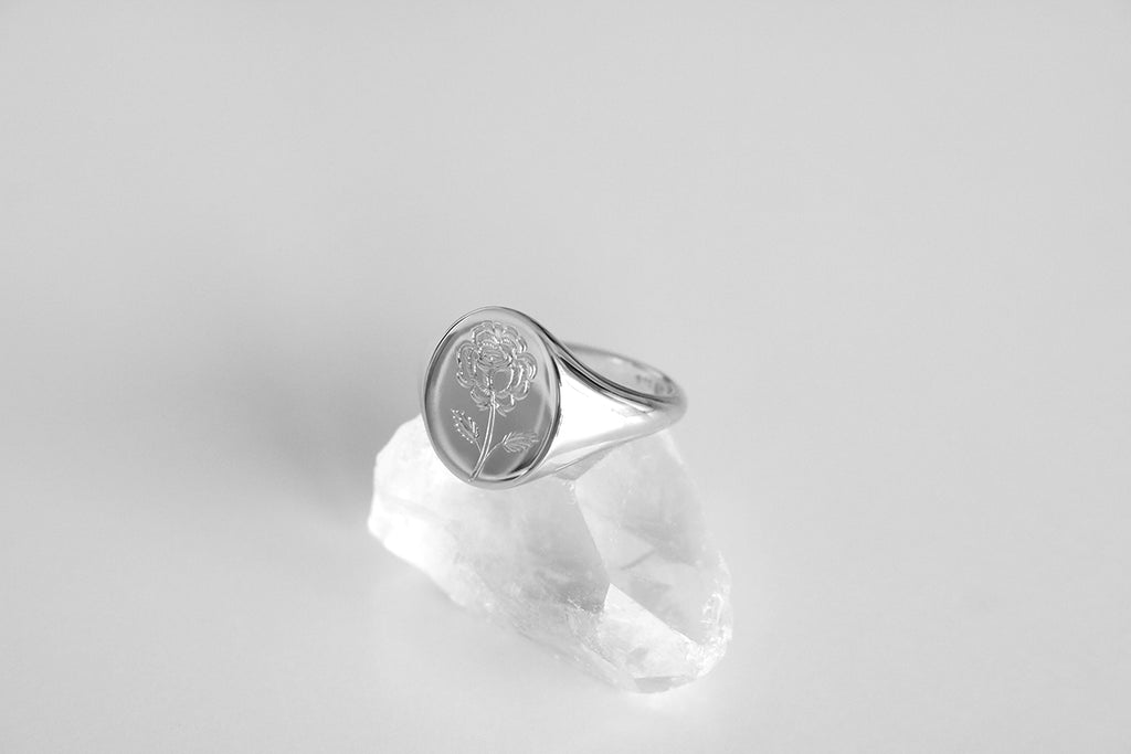 Large Engraved Rose Signet Ring White Gold