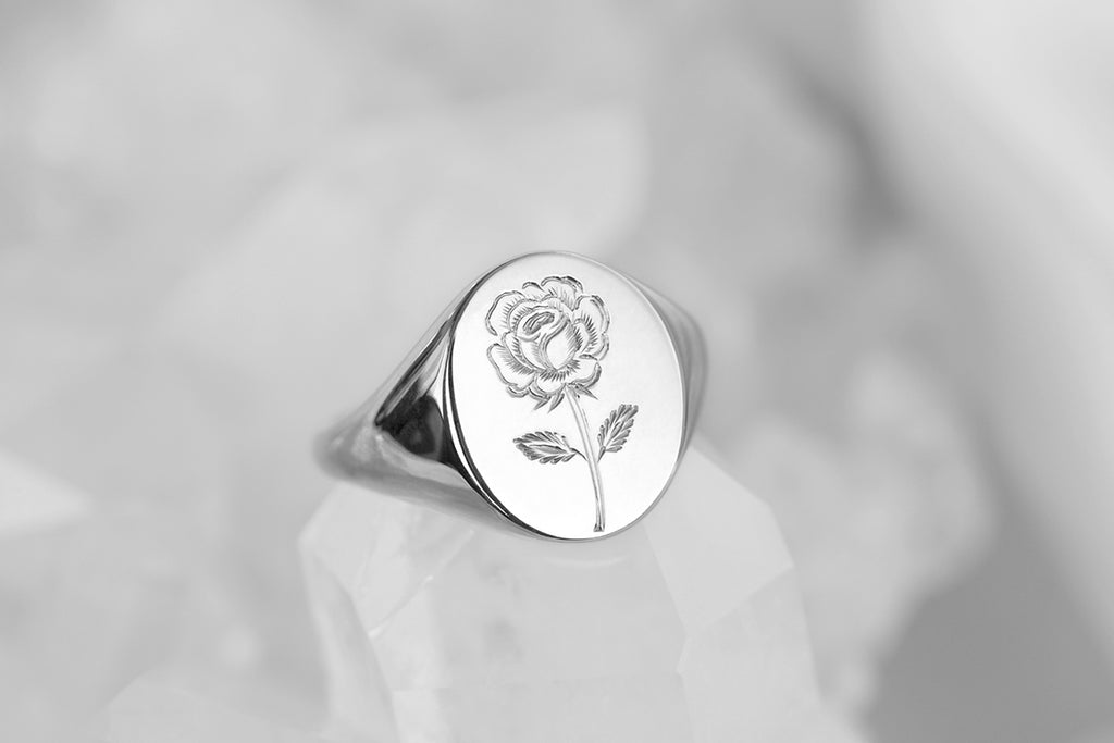 engraved rose signet ring