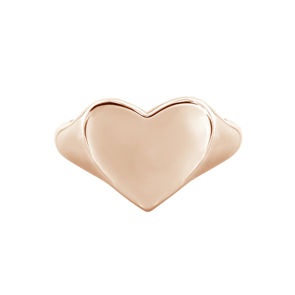 rose gold heart signet ring