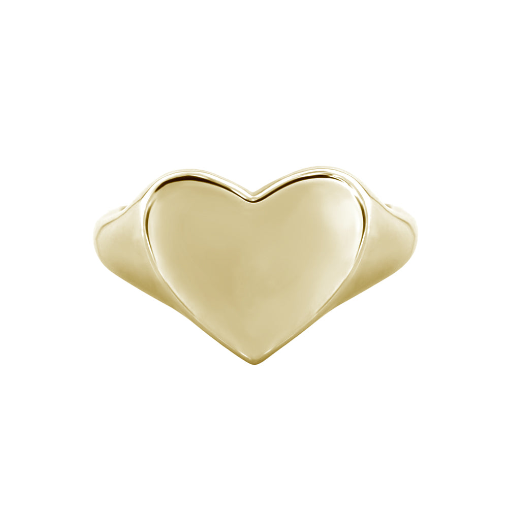 yellow gold heart signet ring