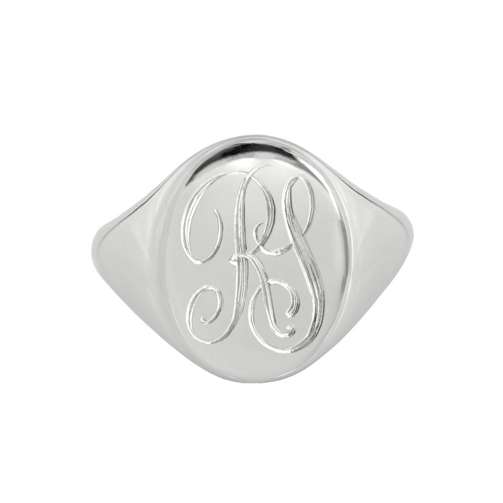 White Gold Monogram Signet Ring