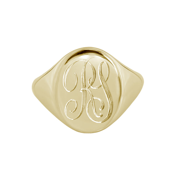 Large Monogram Signet Ring Yellow Gold
