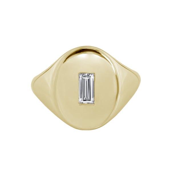 Large Baguette Diamond Signet Ring Yellow Gold