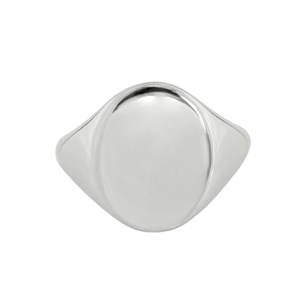 Large Oval Signet Ring White Gold