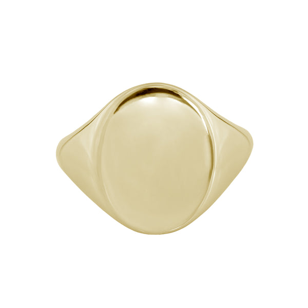 Large Oval Signet Ring Yellow Gold