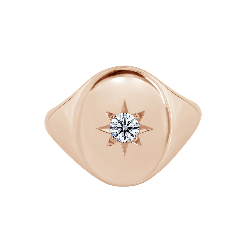 Large Star Set Signet Ring Rose Gold
