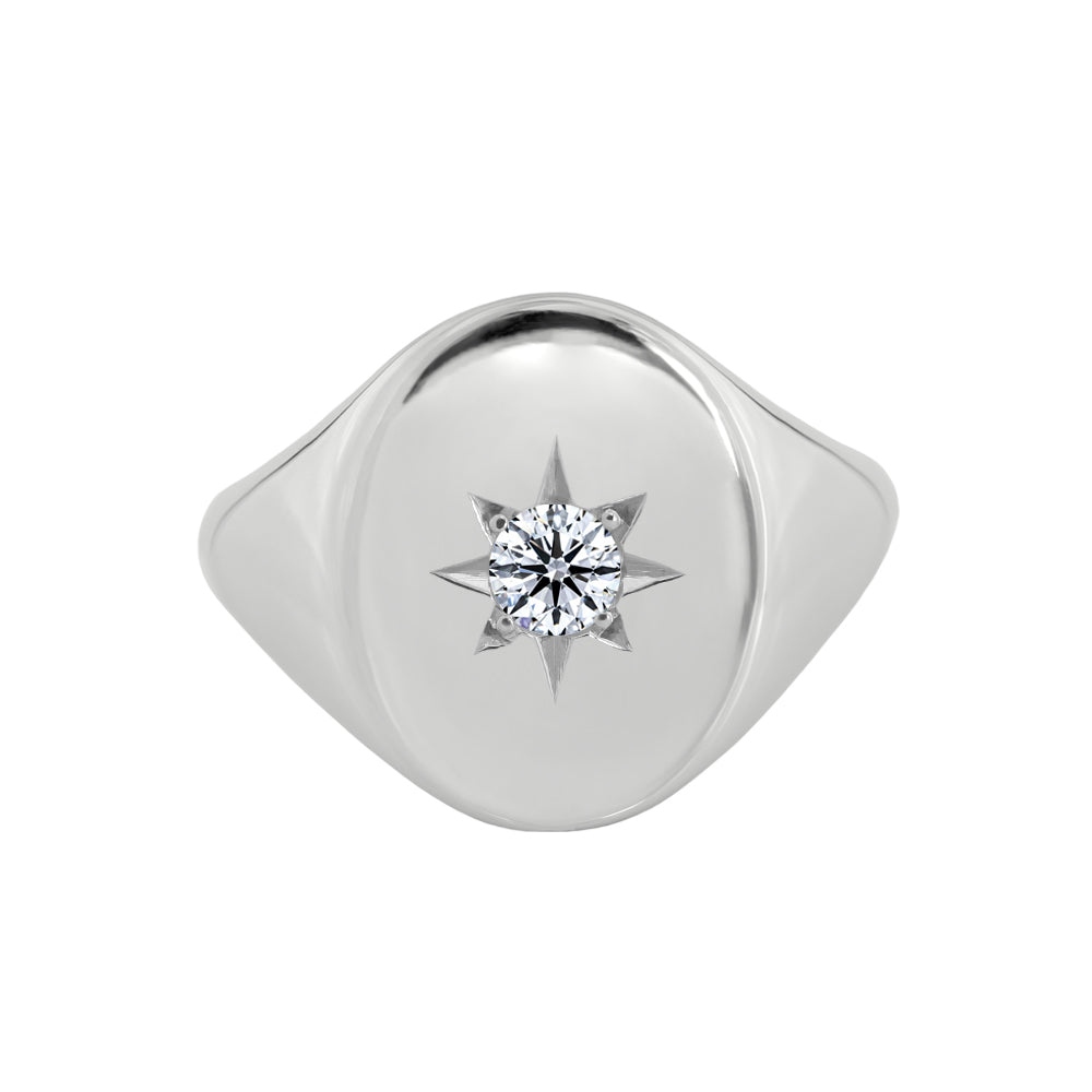 Large Star Set Diamond Signet Ring White Gold