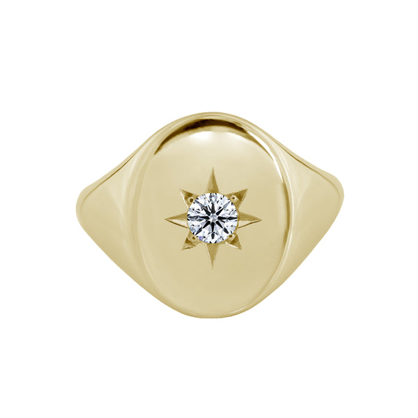 Large Star Set Diamond Signet Ring Yellow Gold