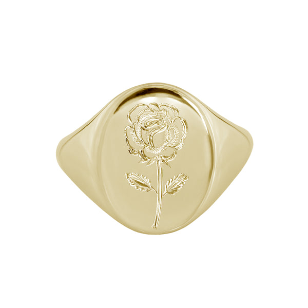 Engraved rose signet ring yellow gold