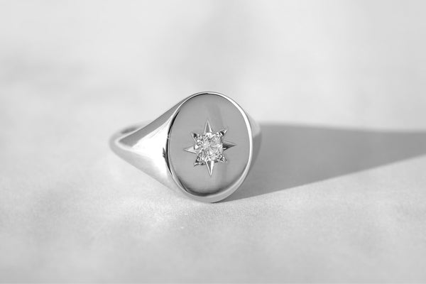 large star set diamond signet ring