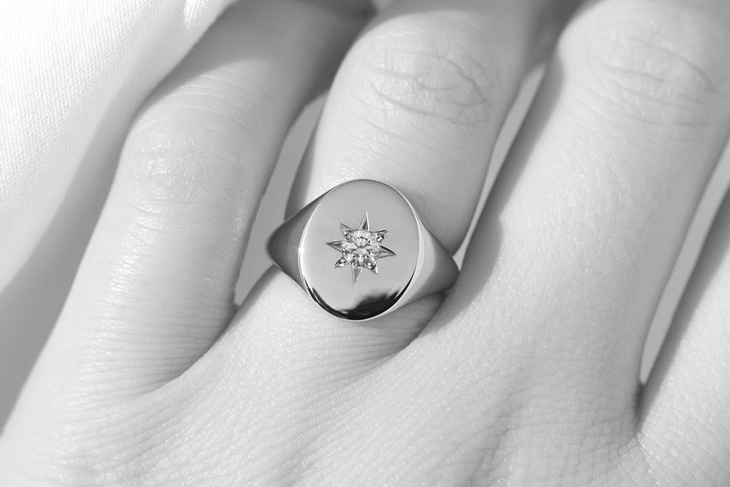 Large oval shaped signet ring with diamond