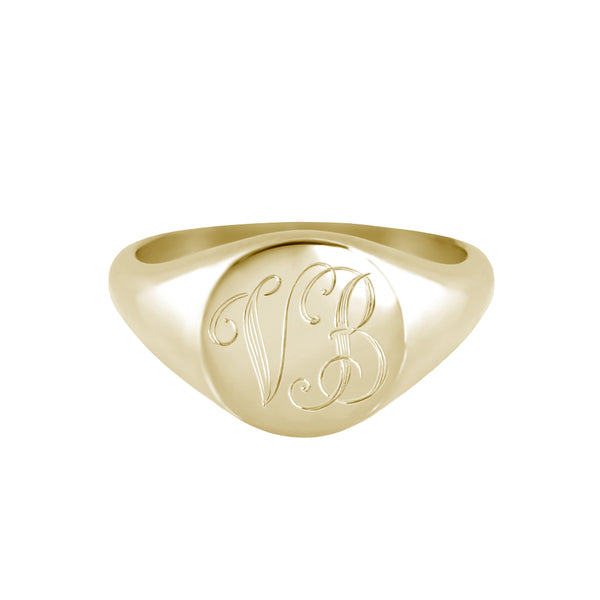 Monogram Round Signet Ring Yellow Gold