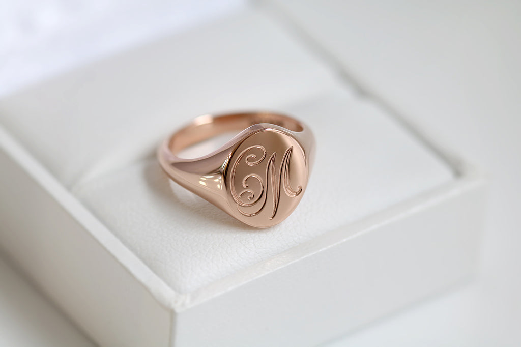 engraved rose gold signet ring