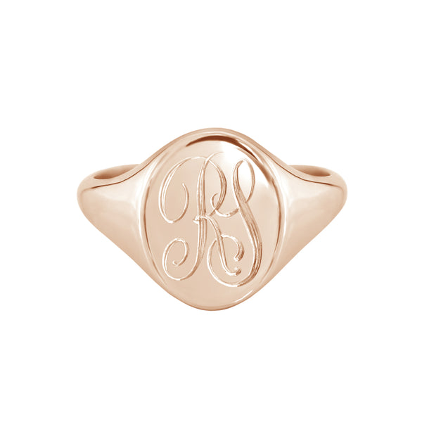 Monogram Oval Signet Ring Rose Gold