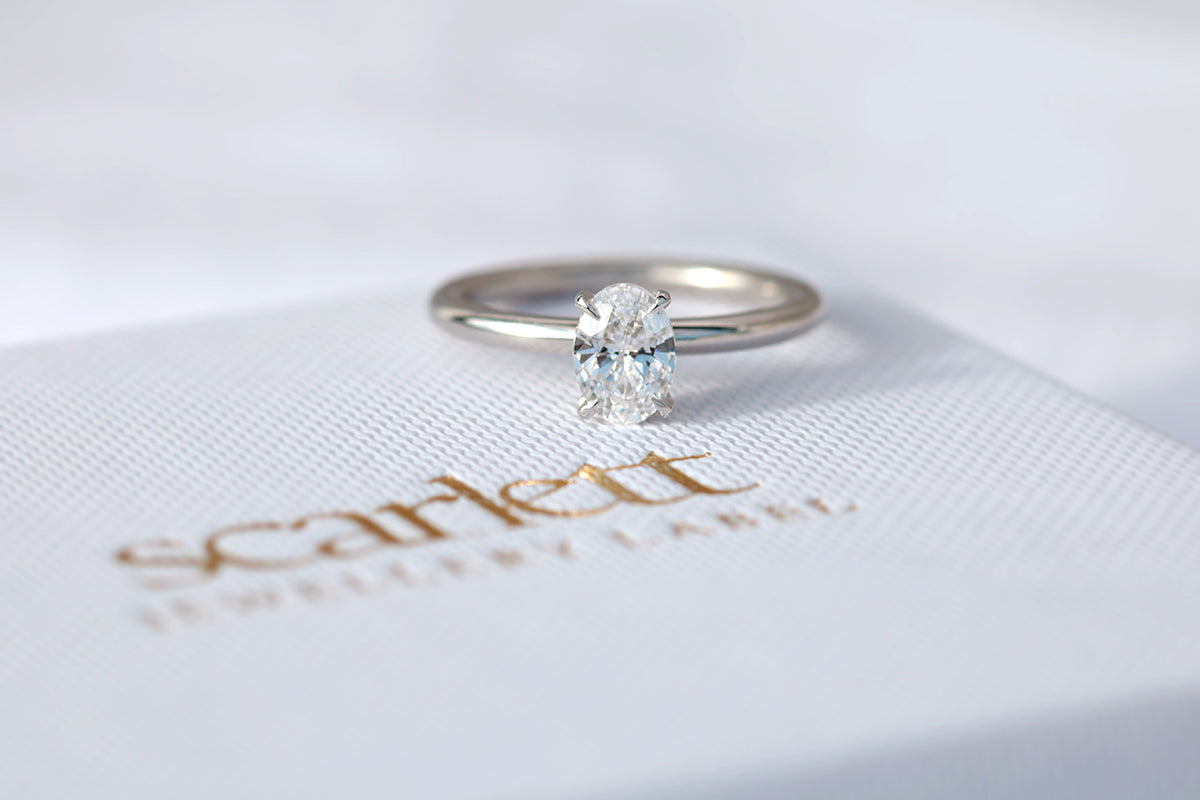Oval diamond solitaire ring in white gold